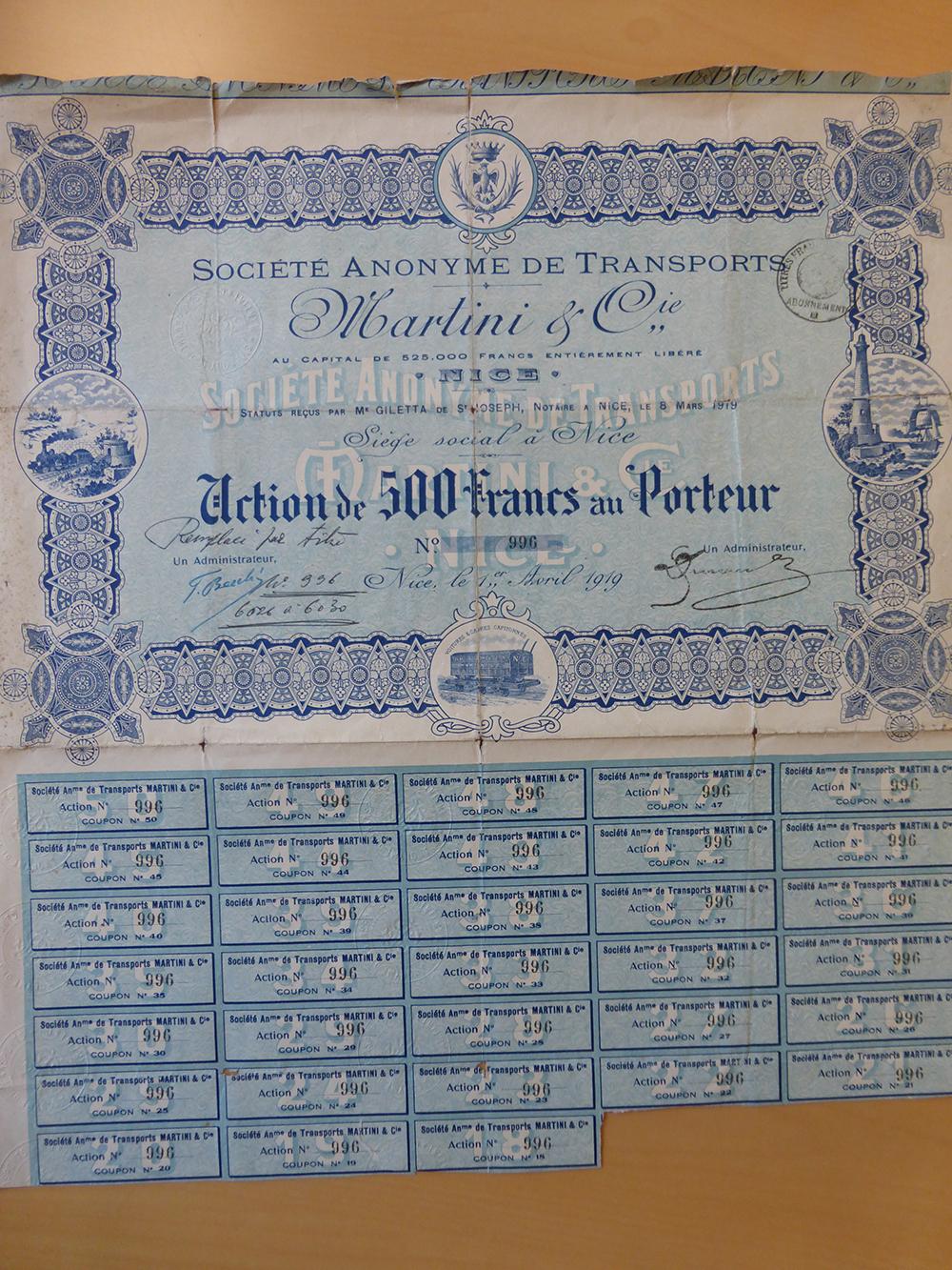 Action au porteur 1919 de Martini & Cie-web