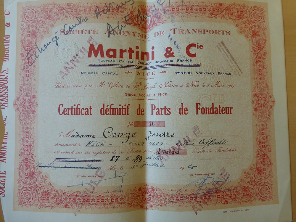 Certificat de parts de fondateur