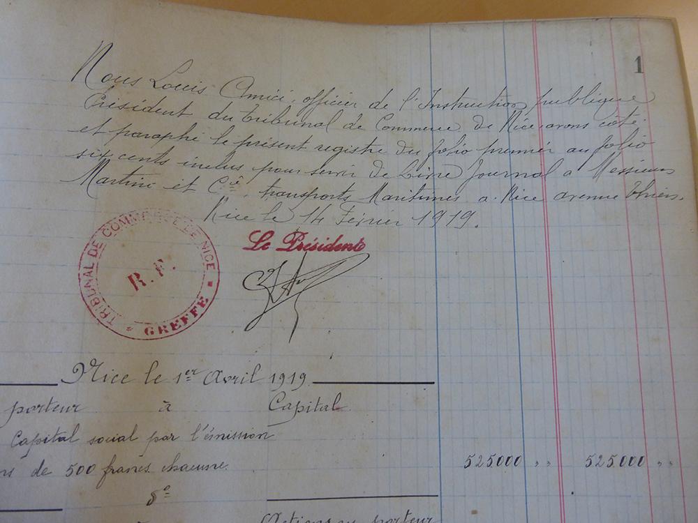 Enregistrement du 1er Livre Journal par TC de Nice en 1919
