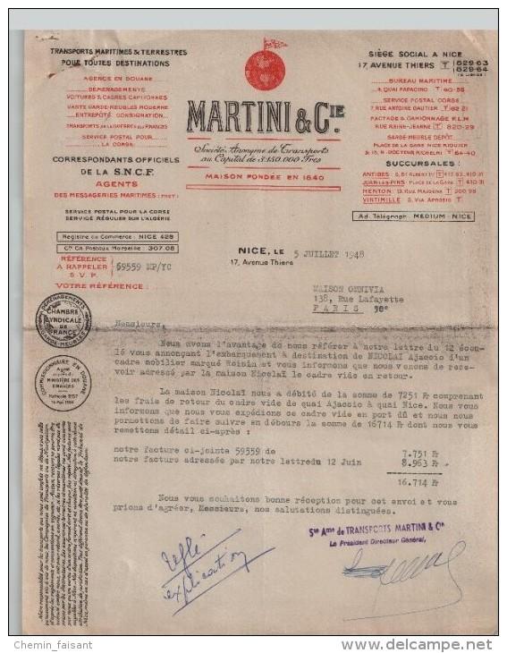 Lettre Transports Martini de 1948